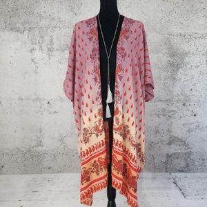 ANGIE Long Kimono Large Purple Orange